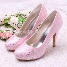 43.02$  Buy now - http://alie5r.shopchina.info/go.php?t=1392900839 - Wedopus MW1311 Comfortable Satin Pink Wedding Shoes with Rhinestones Custom Handmade  #aliexpress