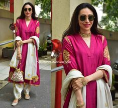 Kapoor sisters Kareena and Karisma along with Taimur were snapped outside their office for Diwali Puja dressed in coordinating pink outfits. Salwar Kameez Neck Designs, Kurta Neck Design, Latest Salwar Kameez, Pakistani Salwar Kameez, Sharara, Anarkali, Diwali Dresses, Diwali Outfits, Ethnic Outfits