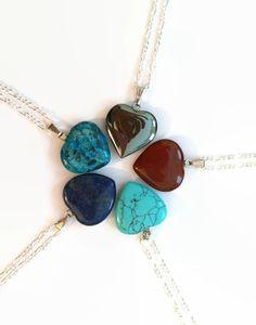 Gemstone heart necklace Turquoise Hematite Jasper gemstone heart pendant Chakra necklace healing necklace reiki necklace girlfriend necklace
