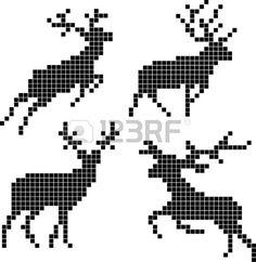 Pixel silhouetten van herten Stockfoto