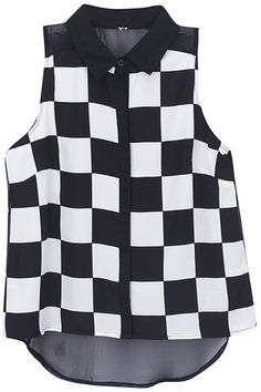 Dual-tone Asymmetric Checkerboard Shirt. Description Shirt, featuring sleevelss, checkerboard print on front, buttoned front, dual-tone, opaque back, asymmetric hem, regular length. Fabric Chiffon. Washing Cool hand wash with similar colours, do not tumble dry. #Romwe