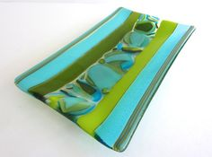 Fused Glass Dish in Turquoise and Spring Green by bprdesigns, $75.00