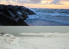 Pictures of the same view. Top picture is  from 9/18/12 and the bottom pic is from 1/27/13. The bottom picture was taken looking a bit more northward so the rocks aren't in the frame as much. Regardless, it's hard to imagine that we swim in that exact same spot during the summertime. Amazing contrast. #BeautifulLakeMichigan