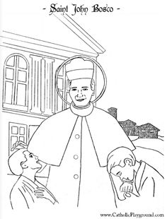 Saint John Bosco Catholic Saint coloring page for children.  Feast day is January 31st.