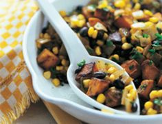 Canned black beans and frozen corn kernels are the shortcut ingredients in this nicely spiced entrée with a South American accent. Serve with chopped fresh