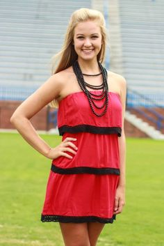 Red and Black ready to attack game day! Rock on girl! ellieclothing.com