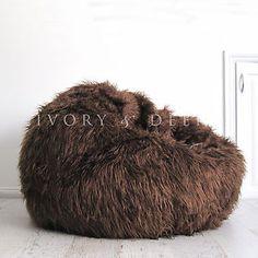 762a399bfe FUR-BEANBAG-Cover-Soft-Shaggy-Chocolate-Brown-Bean-