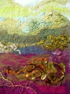 Rae Woolnough love of art and textiles has been a life long passion.Rae exhibits her artwork regularly and held in private collections internationally Art Fibres Textiles, Textile Fiber Art, Textile Artists, Felt Fabric, Fabric Art, Felt Pictures, Creative Textiles, Machine Embroidery Projects, Contemporary Embroidery