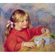 Claude Renoir at play c1905 Canvas Art - Pierre-Auguste Renoir (22 x 20)