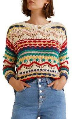 MANGO Birthday Oversized Sweater Crochet Top Outfit, Crochet Jumper, Crochet Cozy, Freeform Crochet, Crochet Clothes, Moda Crochet, Patron Crochet, Knitting Stiches, Crochet Woman