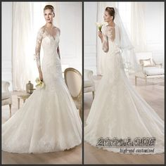 Find More Wedding Dresses Information about Free Shipping New Arrival Lace Applique Fluffy Mermaid Wedding Dress Long Sleeve,High Quality Wedding Dresses from 100% Love Wedding Dress & Evening Dress Factory on Aliexpress.com