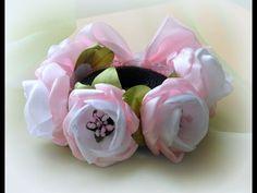 DIY: Резинка на гульку-пучок из цветов Канзаши/The elastic on the bun from flowers Kanzashi - YouTube