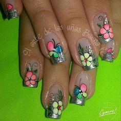 Uñas Decoradas Acrylic Nail Designs, Nail Art Designs, Acrylic Nails, Spring Nails, Summer Nails, Magic Nails, Fabulous Nails, Nice Nails, 3d Nails
