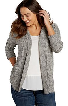 57d5f91d27e Maurices Women s Plus Size Marled Cardigan With Hood 3 Gray Combo at Amazon  Women s Clothing store