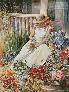 Girl with Flowers - Cross Stitch Chart - Click Image to Close