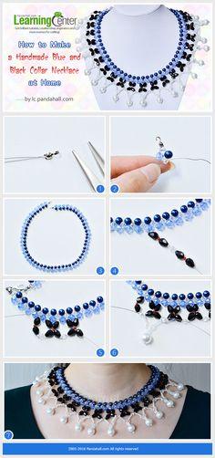 Collar azul y negro y blanco