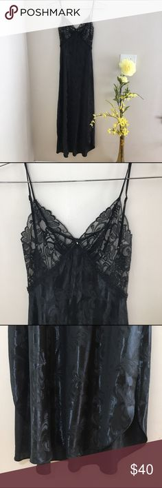 1970s Vintage Shirley Black Sweeping Nightgown 1970s long sexy night gown / Lingerie dress Silk with Lace. Size small, excellent condition! Vintage Intimates & Sleepwear Pajamas