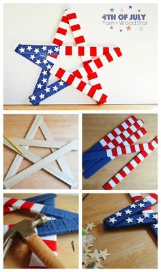 Patriotic DIY projects for of July or memorial day party or home décor can fun. The collection of handmade crafts for Independence day has choices for kids and adults both. 4th July Crafts, Fourth Of July Decor, 4th Of July Decorations, Patriotic Crafts, 4th Of July Party, July 4th, Fourth Of July Crafts For Kids, Fouth Of July Crafts, Craft Stick Crafts