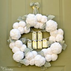 With the holidays behind us and a winter landscape that's barren and frosty, it's nice to come home to a welcoming front door with a fluffy, DIY Be Warm Winter Wreath