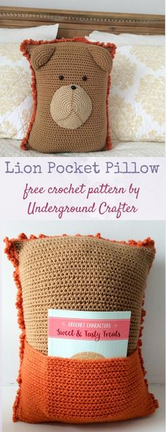Free #crochet pattern: Lion Pocket Pillow in Red Heart Super Saver yarn and stuffed with Fairfield Original Poly-Fil by Underground Crafter. This pattern is one of 10 free crochet patterns by 10 designers in the 2018 Softie Crochet Along with CAL Central. This cuddly lion has a cute little mane along with a pocket in the back. This lion is very huggable and the pocket can be used to package a gift or to hold a special book. #fairfieldworld #redheartyarns #joycreators #amigurumi #lion…