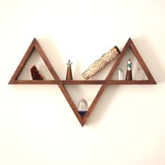 Wooden Triangle Shelf // Handmade Timber by theprimitivepoint
