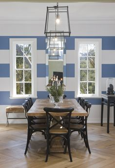 Interior Styling by Josephine Marshall @ one Rundle Trading Co. French provincial meets British Colonial, eclectic contemporary finds amongst antiques. Blue and white stripe wall, dining room, lantern pendant lighting, herringbone floor, Adelaide Hills.
