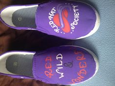 Custom painted Red Hat Lady canvas shoes