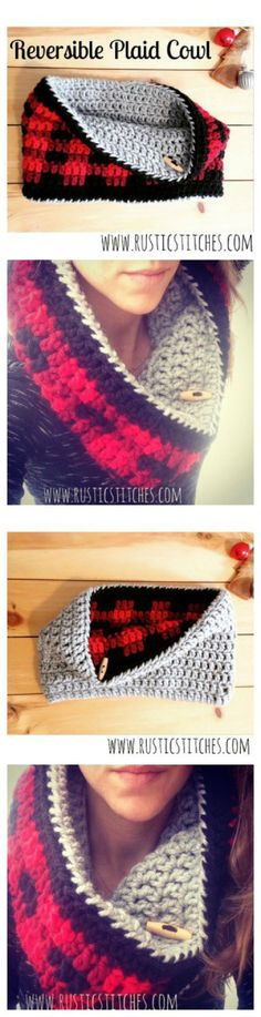 Free Crochet Reversible Plaid Cowl Pattern - 15 Easy and Free Crochet Pattern to Stay Warm This Winter
