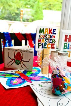 The item is no longer available (Etsy link) but I like the 'masterpiece' sign. Might do something similar for the kids paintings on display. Kindergarten Art, Preschool Art, Party Activities, Book Activities, Hungry Caterpillar Party, Eric Carle, Chenille, Art Party, Art Classroom