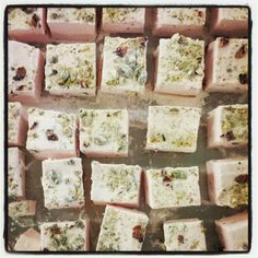 Rose and pistachio marshmallows. The Confectionery Collection Confectionery, Marshmallows, Pistachio, Chocolates, Feta, Cheese, Rose, Collection, Marshmallow