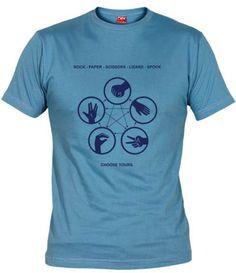 Camiseta piedra papel tijera lagarto spock, Camisetas Big Bang Theory, Camisetas Television, Fanisetas, Camiseta Piedra papel tijera lagarto spock, basada en el juego de Sheldon en la serie Big Bang Theory..