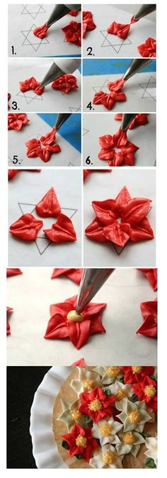 I really want to learn how to cake decorate!How To: Royal Icing Poinsettias I really want to learn how to cake decorate!How To: Royal Icing Poinsettias Cake Decorating Techniques, Cake Decorating Tutorials, Cookie Decorating, Decorating Cakes, Decorating Ideas, Christmas Baking, Christmas Treats, Christmas Desserts, Christmas Cake Decorations