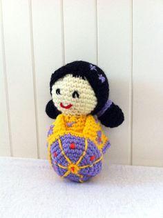 Kokeshi doll Sunshine  crochet amigurumi doll in yellow by Kilewia, $17.00