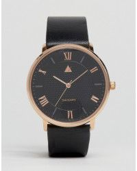 ASOS | Leather Strap Watch With Rose Gold Highlights |  Lyst