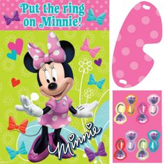 "Minnie's lost her ring!  Save the party and win the game by putting the ring on Minnie's hand.  This Minnie Mouse Bowtique Party Game is a fun spin-off of the traditional ""pin the tail on the donkey"" game.  The game board features a cheery Minnie in her iconic pink and white polka dot bow and dress on a green background accented by flower doodles, colorful hearts, and a bevy of bright bows. Each of the ring stickers is a different color and has a blank space for your birthday guests' names…"