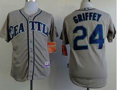 24 ken griffey mariners stitched grey cool base baseball jersey