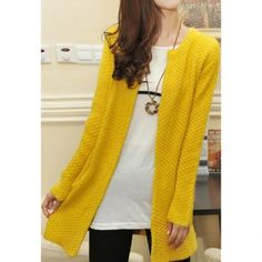 Simple Style Scoop Collar Long Sleeves Pockets Mohair Slimming Women's Cardigans