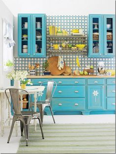 turquoise tiles, turquoise cabinets