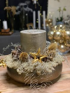 Christmas Time, Christmas Crafts, Merry Christmas, Christmas Decorations, Table Decorations, Winter Time, Centerpieces, Candle Holders, Candles
