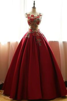 New Wine Red Wedding gown Quinceanera Pageant Ball Gown Prom Party Formal dress