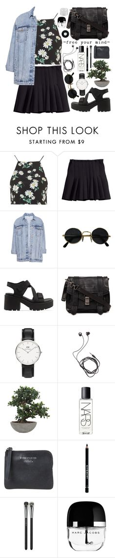 """""""Outfit 159"""" by holass ❤ liked on Polyvore featuring Topshop, H&M, Pull&Bear, Vagabond, Proenza Schouler, Daniel Wellington, Diane Von Furstenberg, Lux-Art Silks, NARS Cosmetics and Acne Studios"""
