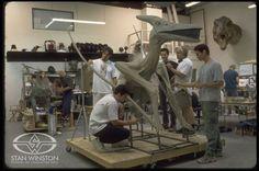 Stan Winston Studio artists sculpt JURASSIC PARK III's Pteranodon suit.