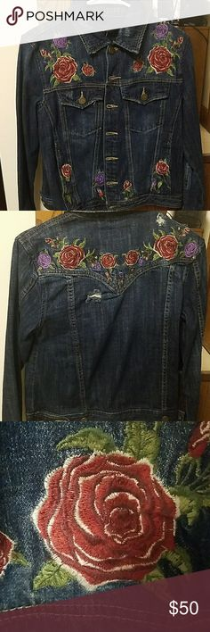 NWT BLANKNYC Embroidered Denim Jacket Rose embroidered distressed dark denim jacket. Looks oversized. Blank NYC Jackets & Coats Jean Jackets