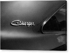 1970 Dodge Charger Emblem -0290bw Canvas Print by Jill Reger