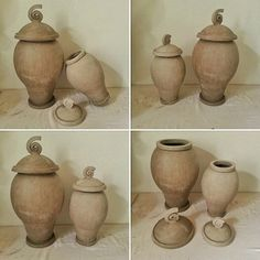 Workinprogress! Raku pottery urns for human or pet ashes; medium and small size.