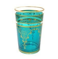 AU $8.95 Oxfam Moroccan tea glass, turquoise & gold
