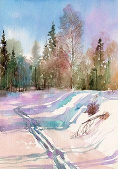 Пейзаж акварель на заказ, портфолио художника Яковлева Андрея