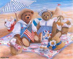 Плюшевые медведи на пляже - Схемы вышивки - Евгения_Кико - Авторы - Портал «Вышивка крестом»