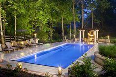 Award Winning Fiberglass Pool Inground Pool Designs, Swimming Pool Designs, Swimming Pool Landscaping, Landscaping Ideas, Swimming Pool Pictures, Living Pool, Rectangle Pool, Fiberglass Swimming Pools, Vinyl Pool