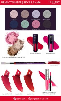 <img> Bright Winter makeup ideas using ByTerry. Coordinated makeup palette for seasonal analysis. Bright Makeup, Colorful Makeup, What Makeup To Buy, Bright Winter Outfits, Make Up Kits, Deep Winter Colors, Dark Summer, Clear Winter, Makeup Pallets